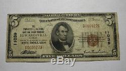 $ 5 1929 Edwardsville Illinois IL Banque Nationale Monnaie Remarque Le Projet De Loi # 11039 Fin