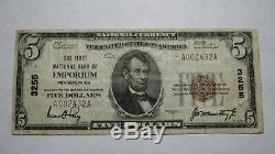 $ 5 1929 Emporium Pennsylvania Pa Banque Nationale Monnaie Note Bill Ch. # 3255 Rare