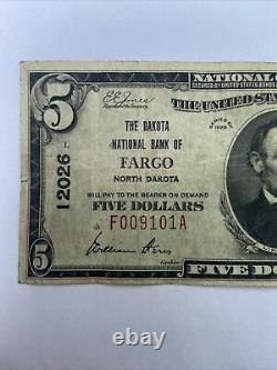 5 1929 Fargo Dakota Du Nord Nd Banque Nationale De Devises Note Bill Ch. #12026
