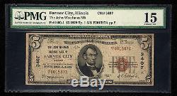 $ 5 1929 Farmer City Illinois IL Billets De Billets De Banque Nationale Bill! # 3607 Fine