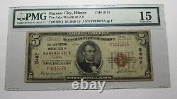 $5 1929 Farmer City Illinois IL National Devise Bank Note Bill! #3407 Amende
