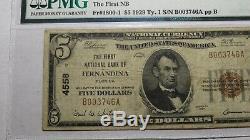 $ 5 1929 Fernandina Floride Fl Banque Nationale Monnaie Note Bill Ch. # 4558 Fin