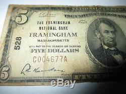 5 $ 1929 Framingham Massachusetts Ma Banque De Billets De Banque Nationale Note Bill! # 528 Rare