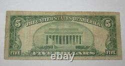 $5 1929 Guttenberg New Jersey Nj National Currency Bank Note Bill Ch. 12806 Rare