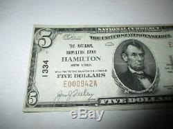 $ 5 1929 Hamilton De New York Ny Banque Nationale Monnaie Note Bill Ch. # 1334 Vf