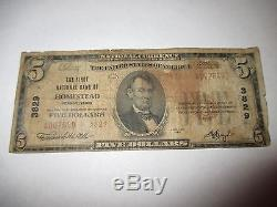 5 $ 1929 Homestead Pennsylvanie Pennsylvanie Banque Nationale De Billets De Banque Bill! # 3829 Rare