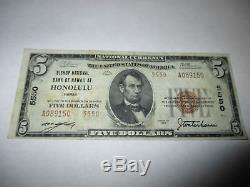 5 $ 1929 Honolulu Hawaii Banque Nationale De Billets De Banque Hi Bill Ch. # 5550 Vf