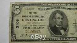 5 $ 1929 Huntington West Virginia Wv Banque Nationale Monnaie Note Bill! # 3106 Fin