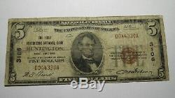 5 $ 1929 Huntington West Virginia Wv Banque Nationale Monnaie Note Bill! # 3106 Rare