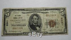 $ 5 1929 Jacksonville En Floride Fl Banque Nationale Monnaie Note Bill Ch. # 8321 Rare
