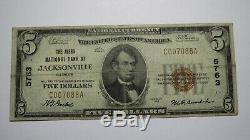 $ 5 1929 Jacksonville Illinois IL Banque Nationale Monnaie Note Bill Ch. # 5763 Rare