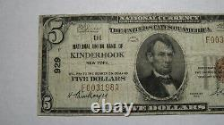 $5 1929 Kinderhook New York Ny Banque De Monnaie Nationale Note Bill! Ch. N° 929 Rare