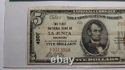 5 $ 1929 La Junta Colorado Co Monnaie Nationale Banque Note Bill Ch. #4507 F15 Pcgs
