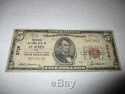 5 $ 1929 Le Mars Iowa Ia Note De La Banque Monétaire Nationale Bill Ch. # 2728 Fine Rare