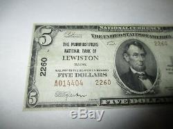 $ 5 1929 Lewiston Maine Me Banque Nationale Monnaie Note Bill! Ch. # 2260 Vf