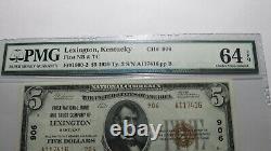 $5 1929 Lexington Kentucky Ky National Currency Bank Note Bill #906 Unc64epq Pmg