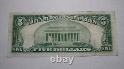 $5 1929 Los Angeles Californie Ca National Monnaie Banque Note Bill Ch. #2491 Vf+