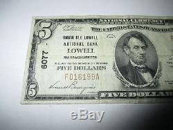 5 $ 1929 Lowell Massachusetts Ma Note De La Banque Monétaire Nationale Bill! Ch # 6077 Fine