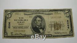 $ 5 1929 Luray Virginia Va Banque Nationale Monnaie Note Bill! Ch # 6206 Page Vallée