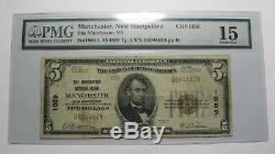 5 $ 1929 Manchester New Hampshire Nh Banque Nationale Monnaie Note Bill Ch. # 1059