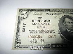 5 $ 1929 Mankato Kansas Ks Note De La Banque Nationale De Billets Bill Ch # 6817 Très Bien