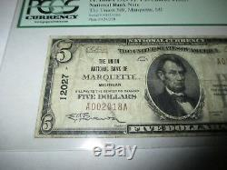 5 $ 1929 Marquette Michigan MI Billets De Banque Nationaux Billets Bill Ch # 12027 Amende 15