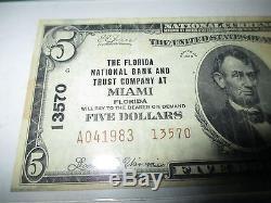 5 $ 1929 Miami Florida Fl Note De La Banque Nationale Bill Bill! Ch. # 13570 Vf Pcgs