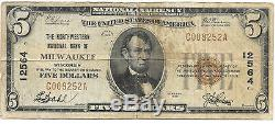 5 $. 1929 Milwaukee Wisconsin Banque Nationale Monnaie Notez Bill Ch. # 12564