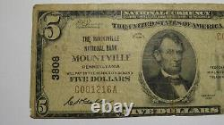 $5 1929 Mountville Pennsylvanie Ap National Monnaie Banque Note Bill #3808 Rare