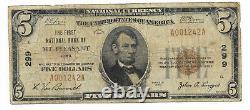 5 $. 1929 Mt. Agreable, Iowa Banque Nationale Monnaie Notez Bill Ch. # 299
