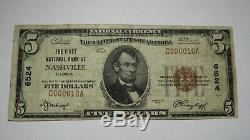 $ 5 1929 Nashville Illinois IL Banque Nationale Monnaie Note Bill! Ch. # 6524 Fin