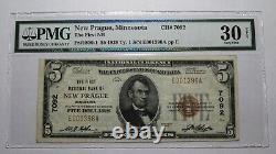 $ 5 1929 New Prague Minnesota Mn Banque Nationale Monnaie Note Bill! # 7092 Vf30 Epq