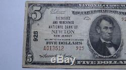 5 $ 1929 Newton New Jersey Nj Billets De Banque En Billets De Banque Nationaux Bill Ch. # 925 Fin