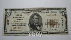 5 1929 Oakdale Pennsylvania Ap National Monnaie Banque Note Bill Ch. #5327 Vf+