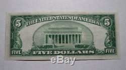 $ 5 1929 Oakland Maryland MD Banque Nationale Monnaie Note Bill Charte # 13776 Xf +