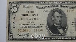 5 1929 Okawville Illinois IL Monnaie Nationale Banque Note Bill Ch. #11754 Fine
