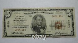 $5 1929 Oneonta New York Ny National Currency Bank Note Bill! Ch. #8920 Rare