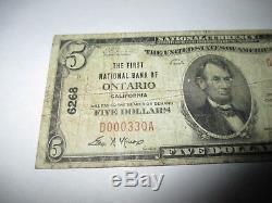 5 $ 1929 Ontario Californie Ca Banque De Billets De Banque Nationale Note! Ch. # 6268 Fine