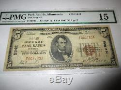 $ 5 1929 Park Rapids Minnesota, Minnesota, National Bill Bank Bill Bill! Ch. # 5542 Pmg