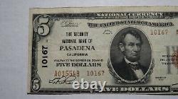 $ 5 1929 Pasadena Californie Ca Banque Nationale Monnaie Note Bill Ch. # 10167 Fin