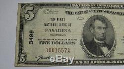 $ 5 1929 Pasadena Californie Ca Banque Nationale Monnaie Note Bill Ch. # Fin 3499