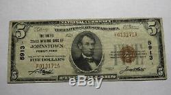 $ 5 1929 Pennsylvania Johnstown Pa Banque Nationale Monnaie Note Bill # 5913 Vf