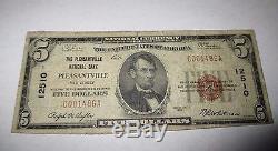 5 $ 1929 Pleasantville New Jersey Nj Banque Nationale De Billets De Banque Note # 12510 Rare