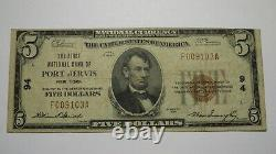 $5 1929 Port Jervis New York Ny National Currency Bank Note Bill! Ch. #94 Delhi