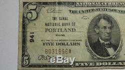 $ 5 1929 Portland Maine Me Banque Nationale Monnaie Note Bill Ch. # 941 Vf