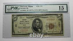 $5 1929 Portland Maine Me National Currency Bank Note Bill Ch. #221 F15 Pmg