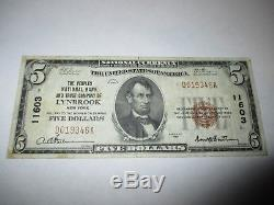$ 5 1929 Projet De Loi Sur La Banque Nationale De Devises Lynbrook New York Ny! Ch. # 11603 Vf