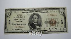 $5 1929 Red Hook New York Ny National Currency Bank Note Bill Ch. #752 Fine