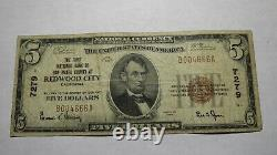 $5 1929 Redwood City California Ca National Currency Bank Note Bill! #7279 Fine