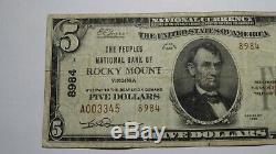 5 $ 1929 Rocky Mount Virginia Va Banque Nationale Monnaie Note Bill! Ch. # 8984 Fin